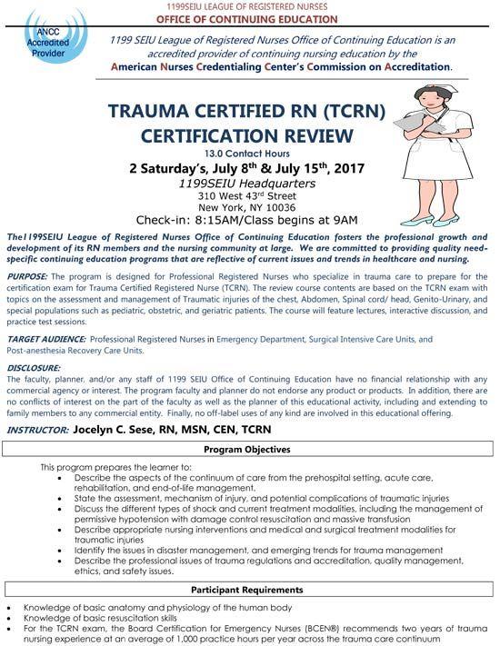 Trauma Certified RN Certification Review (TCRN) :: 1199SEIU
