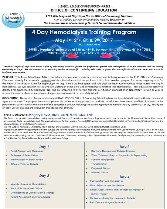 4 Day Hemodialysis Training Program